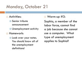 Monday, October 21