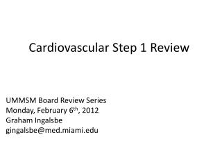 Cardiovascular Step 1 Review
