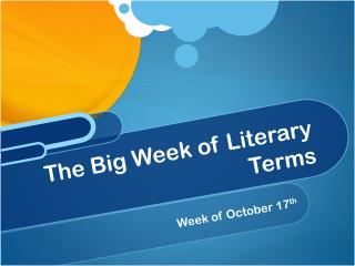 The Big Week of Literary Terms