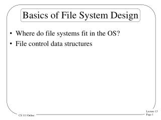 Basics of File System Design