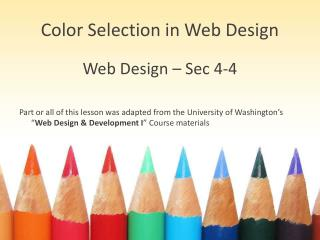 Color Selection in Web Design