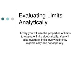Evaluating Limits Analytically