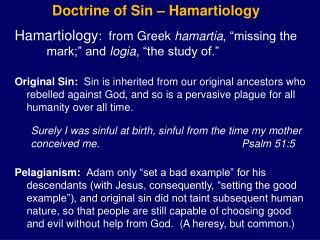 Doctrine of Sin –  Hamartiology
