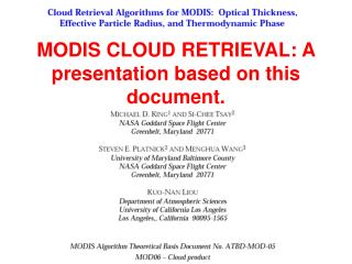 MODIS CLOUD RETRIEVAL: A presentation based on this document.