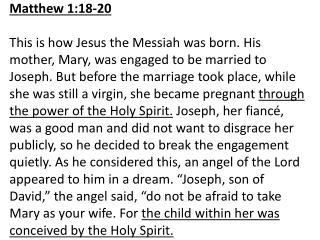 Matthew1:18-20