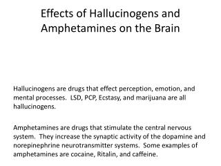 Effects of Hallucinogens and Amphetamines on the Brain
