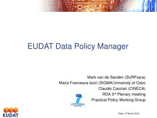 EUDAT Data Policy Manager