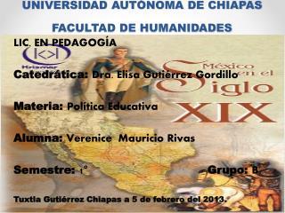 UNIVERSIDAD AUTÓNOMA DE CHIAPAS  FACULTAD DE HUMANIDADES