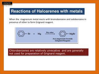 Reactions of  Haloarenes  with metals