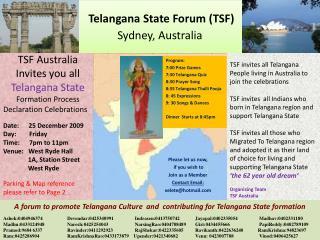 Telangana State  Forum (TSF) Sydney,  Australia