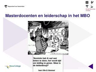 Masterdocenten en leiderschap in het MBO
