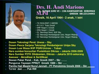 Drs. H.  A ndi Mariono M.Pd