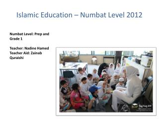 Islamic Education – Numbat Level 2012