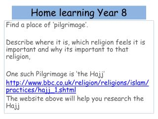 Home learning Year 8