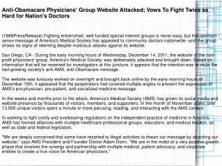 Anti-Obamacare Physicians' Group Website Attacked; Vows To F