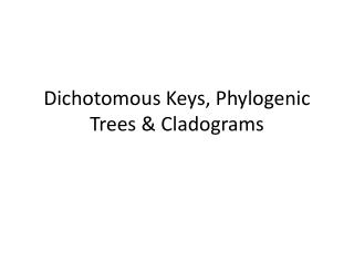 Dichotomous Keys, Phylogenic Trees &  Cladograms