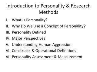 Introduction to Personality & Research Methods