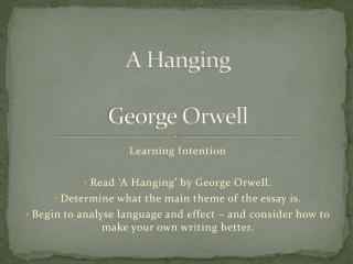 A Hanging George Orwell