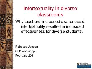 Intertextuality in diverse classrooms