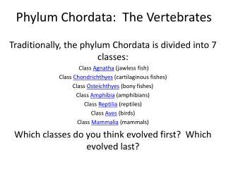 Phylum  Chordata :  The Vertebrates