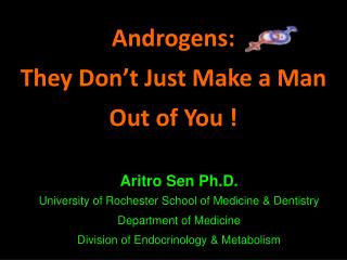 Androgens:  They Don't Just  M ake a Man  Out of You !