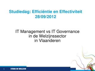 IT Management vs IT Governance  in de  Welzijnssector in Vlaanderen