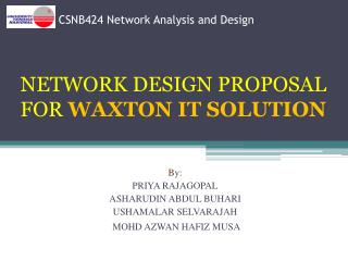 CSNB424 Network Analysis and Design