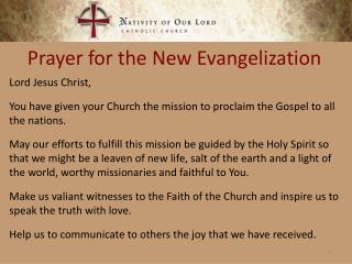Prayer for the New Evangelization