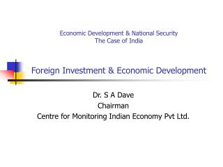 Foreign Investment and Economic Development