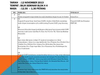 Tarikh : 12 November 2013 Tempat :  Bilik  Seminar Blok H 4 Masa :  12.30  – 1.30  petang
