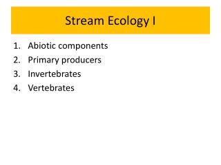 Stream  Ecology I