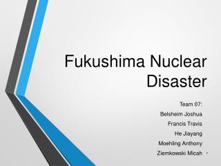 Fukushima N uclear  D isaster