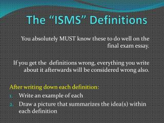 "The ""ISMS"" Definitions"