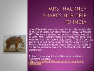Mrs. Hackney shares her trip to India