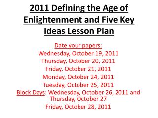 2011 Defining the Age of Enlightenment and Five Key Ideas Lesson Plan