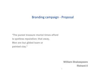 Branding campaign - Proposal