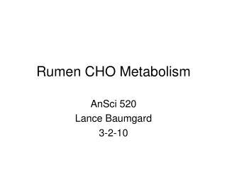 Rumen CHO Metabolism