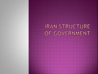 Iran Structure of Government