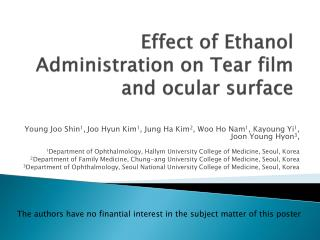 Effect of Ethanol Administration on Tear film and ocular surface
