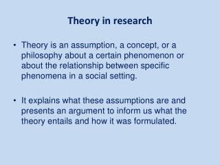 Theory in research