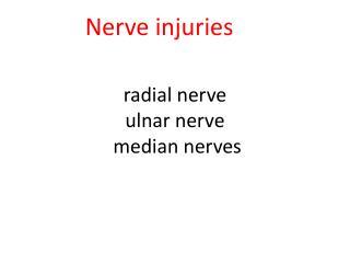 radial  nerve ulnar nerve median nerves