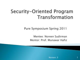 Security-Oriented Program Transformation
