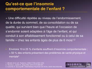 Qu'est-ce que l'insomnie comportementale de  l'enfant  ?