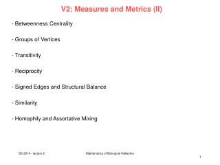 V2:  Measures and Metrics  (II)