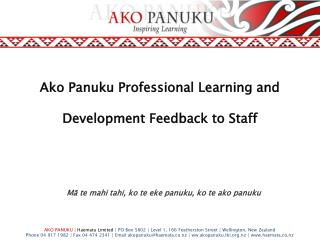 Ako Panuku Professional Learning and Development Feedback to Staff