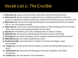 Vocab List 2:  The Crucible