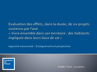 Approche transversale – Enseignements et perspectives
