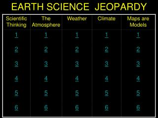 EARTH SCIENCE  JEOPARDY