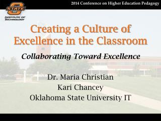 Creating a Culture of Excellence in the Classroom