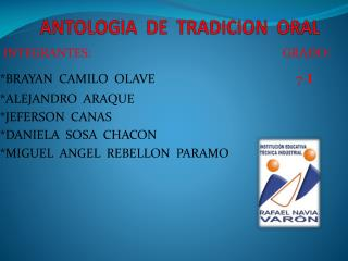 ANTOLOGIA  DE  TRADICION  ORAL